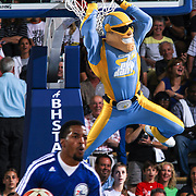 Chicago Sky Mascot SKY GUY dunks the ball during a time out in the second half of an WNBA pre season basketball game between the Chicago Sky and the Washington Mystics Tuesday, May. 13, 2014 at The Bob Carpenter Sports Convocation Center in Newark, DEL