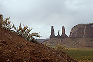 The Three Sisters in Monument Valley.