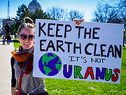 22 APRIL 2017 - ST. PAUL, MN: A pro-science, pro-environment marcher at the Minnesota March for Science. More than 10,000 people marched from the St. Paul Cathedral to the Minnesota State Capitol in St. Paul during the March for Science. March organizers said the march was non-partisan and was to show support for the sciences, including the sciences behind climate change and vaccines.      PHOTO BY JACK KURTZ