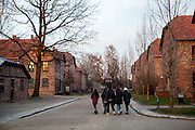 A group of students visiting the Auschwitz Nazi concentration camp. It is estimated that between 1.1 and 1.5 million Jews, Poles, Roma and others were killed in Auschwitz during the Holocaust in between 1940-1945.