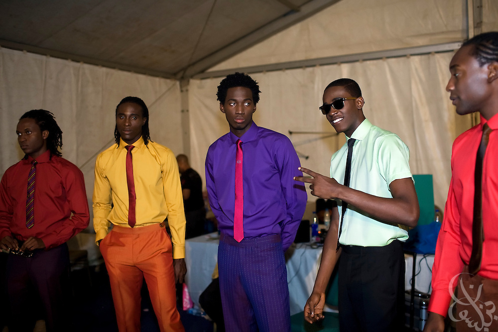 """Nigerian and International models prepare backstage for a show by famed designer Ozwald Boateng during the July 13, 2008 leg of the ThisDay music and fashion festival in Lagos, Nigeria. The festival, themed """"Africa Rising"""", aims to raise awareness of African issues while promoting positive images of Africa using music, fashion and culture in a series of concerts and events in Nigeria, the United States and the United Kingdom. ."""
