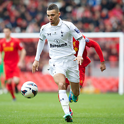 LIVERPOOL, ENGLAND - Easter Monday, April 1, 2013: Tottenham Hotspur's Ryan Fredericks in action against Liverpool during the Under 21 FA Premier League match at Anfield. (Pic by David Rawcliffe/Propaganda)