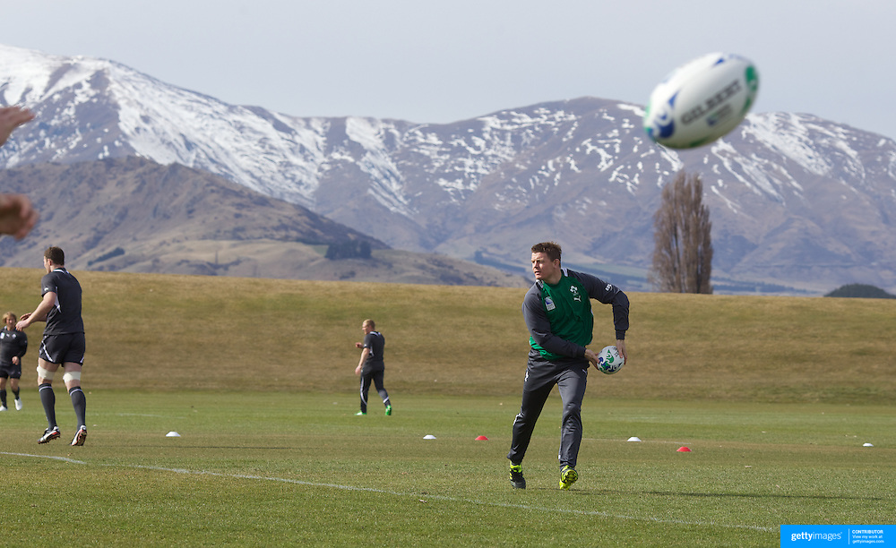 """Brian O""""Driscoll training with the Irish team at The Queenstown Events Centre in preparation for the IRB Rugby World Cup. The team are based in Queenstown for the early part of the tournament.  Queenstown, New Zealand, 4th September 2011. Photo Tim Clayton..."""
