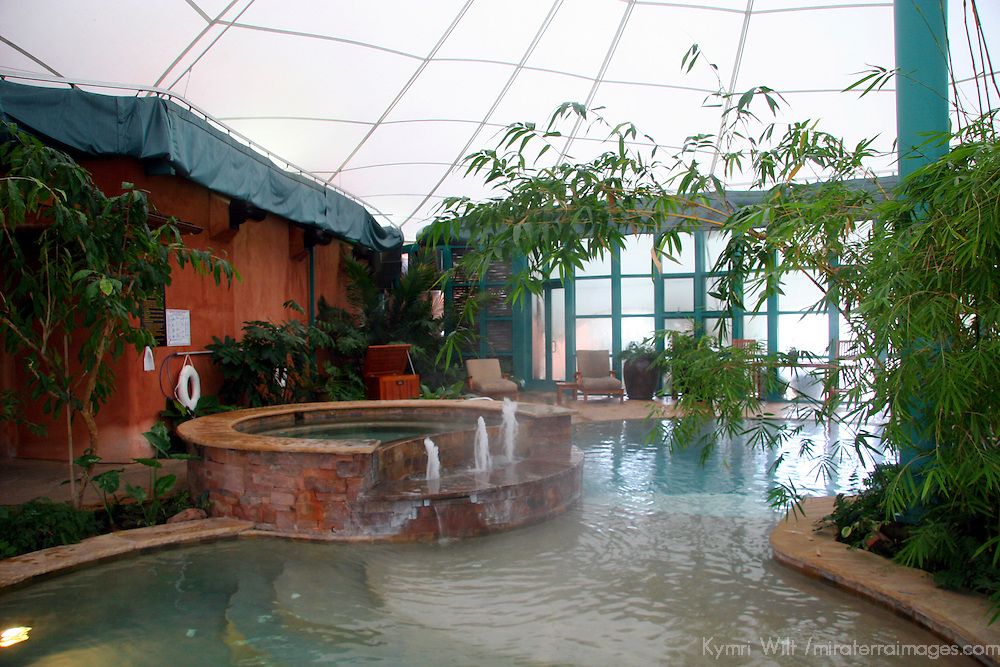 North America, United States, New Mexico, Taos. El Monte Sagrado eco-resort. The Living Spa Aqua Center and Biolarium.