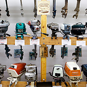 Some of the motors on display at the Outboard Motor Museum in the Rhinelander Logging Museum Complex, Rhinelander, Wisconsin.