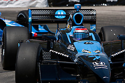 LONG BEACH, CA - APR 19: Indycar Driver Danica Patrick at turn 11 drives the #7 Motorola Andretti Green Racing Dallara Honda practice run. Photo by Eduardo E. Silva