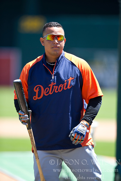 OAKLAND, CA - MAY 26:  Miguel Cabrera #24 of the Detroit Tigers looks on during batting practice before the game against the Oakland Athletics at O.co Coliseum on May 26, 2014 in Oakland, California. The Oakland Athletics defeated the Detroit Tigers 10-0.  (Photo by Jason O. Watson/Getty Images) *** Local Caption *** Miguel Cabrera