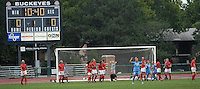 University of North Carolina midfielder Amber Brooks (22) celebrates after scoring on a free kick in the 34th minute as Ohio State takes on UNC in the first half of an NCAA women's college soccer game in Columbus, Ohio on Sunday, Sept. 4, 2011, at Jesse Owens Memorial Stadium.