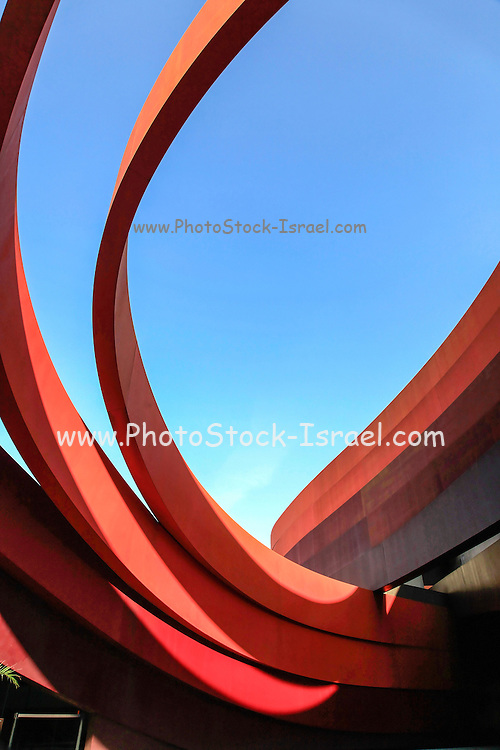 Exterior of the Design Museum Holon, Israel designed by Israeli architect and industrial designer Ron Arad in cooperation with Bruno Asa