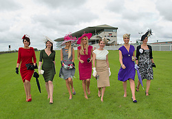 Rosanna Davison, (centre)Guest Judge Anthony Ryan's Best Dressed Lady Competition 2012 with previous winners Mary Doyle, ( 2004 ), Carol Kennelly ( 2008 ), Jill Macken (2006) Ann Marie O' Leary ( 2010) Niamh O' Donovan ( 2003) and Suzanne McGarry ( 2011)  at the launch of the  Anthony Ryan's Best Dressed Lady on the 2nd of August 2012  at the Galway Races. Photo:Andrew Downes.
