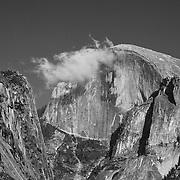 Half Dome And Cloud - Yosemite Valley Meadow - Yosemite - Black & White