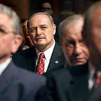 01/05/05 Boston, MA-  House Speaker Sal DiMasi listens during the inaugural ceremonies of the 184th Biennium of the Great and General Court in the House Chambers at the Statehouse Wednesday.  (010505dimasiar04, saved in Thurs, Staff Photo by Angela Rowlings)