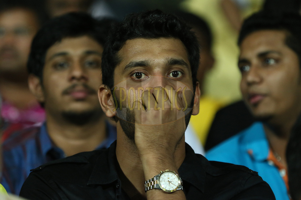 Film actor and politician Arulnithi Stalin at vip stand during match 24 of the Pepsi IPL 2015 (Indian Premier League) between The Chennai Superkings and The Kings XI Punjab held at the M. A. Chidambaram Stadium, Chennai Stadium in Chennai, India on the 25th April 2015.<br /> <br /> Photo by:  Saikat Das / SPORTZPICS / IPL