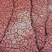 A close-up of the Painted Hills in John Day National Monument, Oregon reveals their popcorn-like texture. This texture is the result of erosion. The cracks result from the drying of the soil after heavy rain; the deeper channels are caused by the run-off of heavy rain.