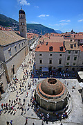 View of Big Onofrio's fountain and Main Street Placa Stradun from city walls, Old Town of Dubrovnik, Croatia