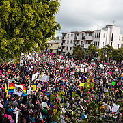 Demonstrators overflowed out of Madison Park at the start of the Women's March in Oakland, CA, January 21, 2017.