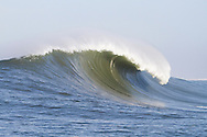 An empty giant wave crashes at the 2010 Mavericks Surf contst held in Half Moon Bay, California on February 13, 2010
