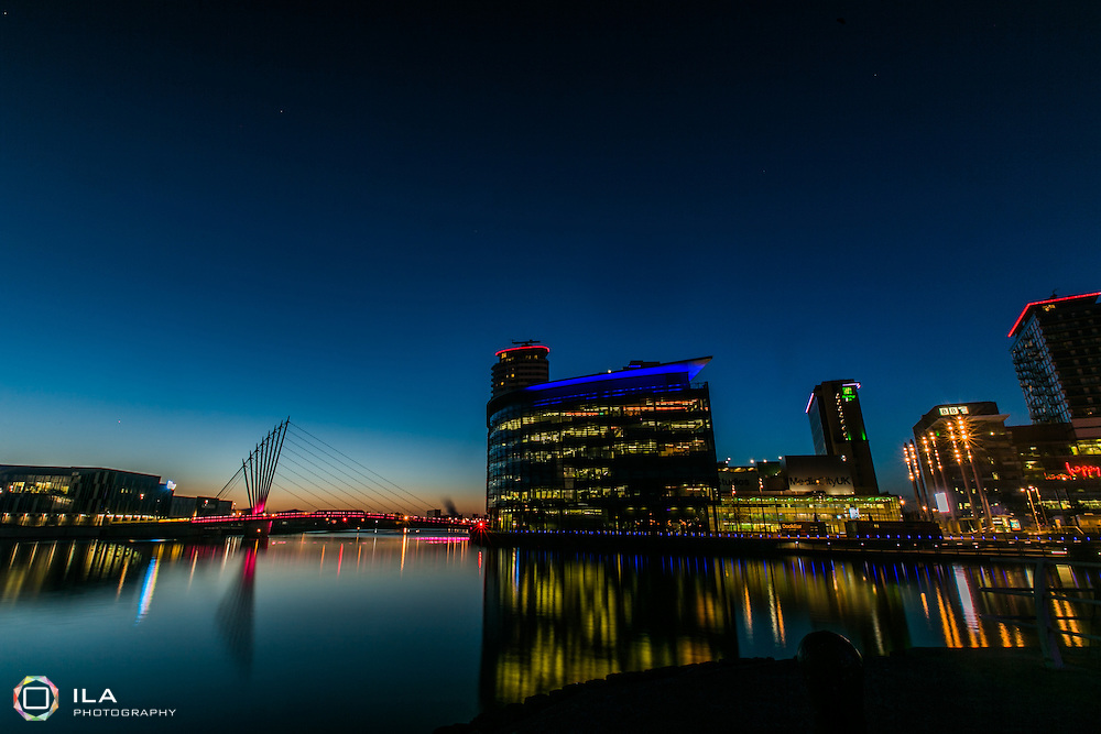 This photo was taken in Salford Quays, just after sunset