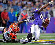 Bengals cornerback Adam Jones (24) grabs Ravens wide receiver Torrey Smith (82) by his hair to make the tackle at the Bengals 41. Smith gained 28 yards on the Joe Flacco pass, but no penalty was called for the hair-pulling incident. Baltimore beat the Bengals 31-24  at M&T Bank Stadium.