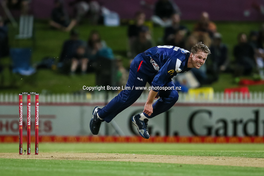 Auckland Aces' Lockie Ferguson bowling during the McDonalds Super Smash T20 cricket match - Knights v Aces played at Seddon Park, Hamilton, New Zealand on Saturday 17 December.<br /> <br /> Copyright photo: Bruce Lim / www.photosport.nz