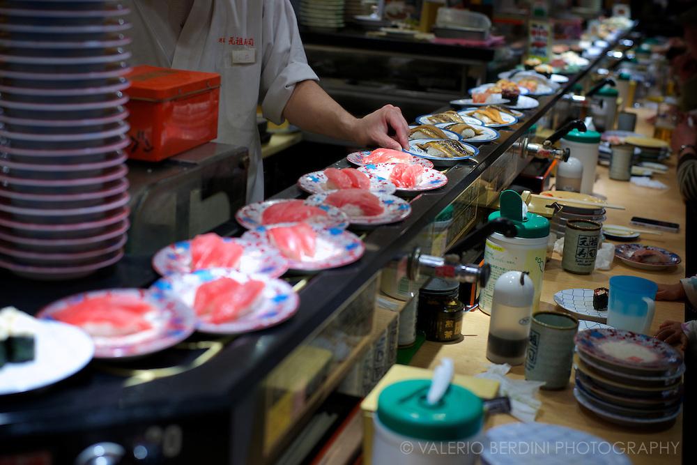 Conveyor belt sushi. Tokyo, Japan 2013.