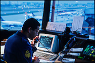 Sao Paulo, Brasil, august 13, 2002:  Air traffic controller at Congonhas International Airport tower, Sao Paulo - Brazil. (photo: Caio Guatelli)