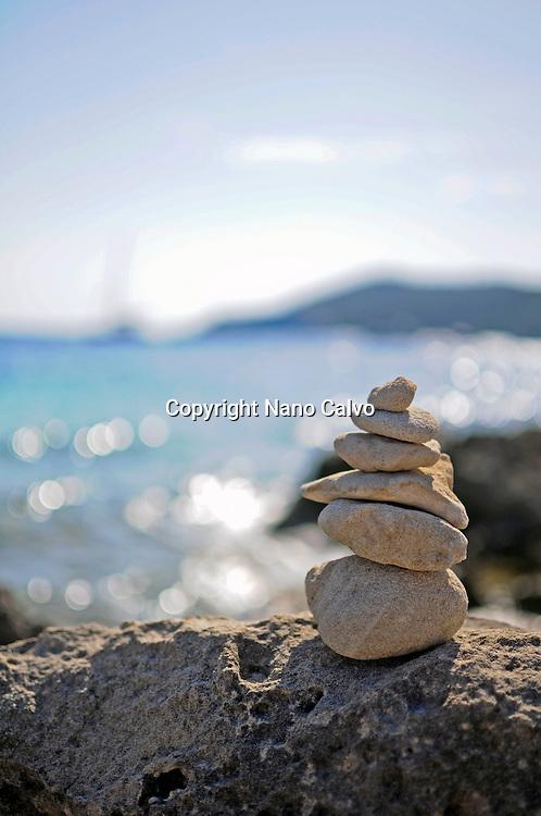 Stone sculpture in Salinas beach, Ibiza