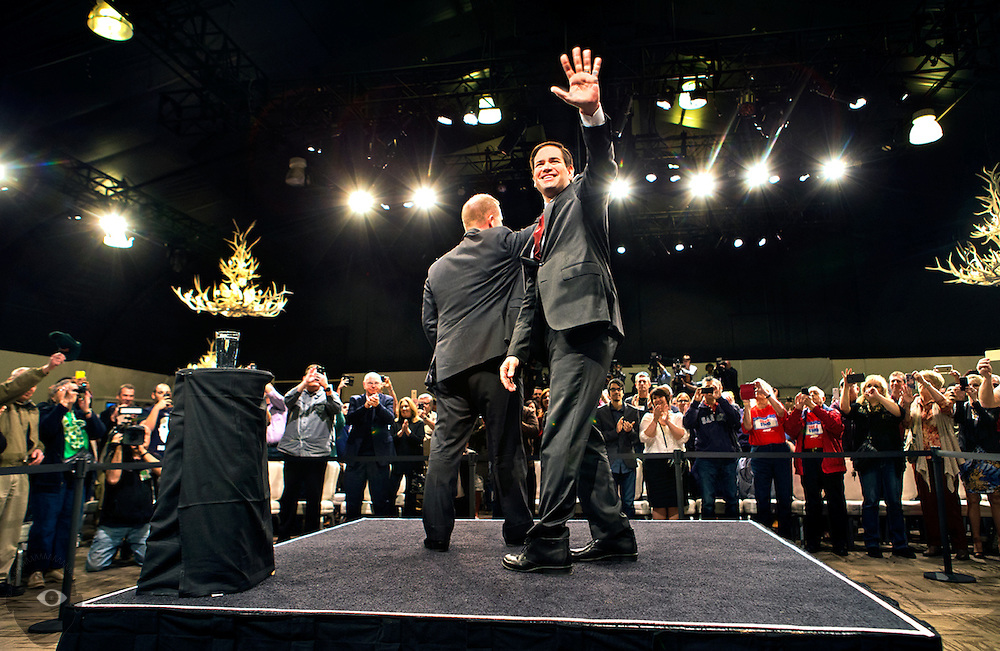 Republican presidential candidate Marco Rubio arrives for a rally in Las Vegas at the Silverton Casino ahead of the Nevada caucuses in the evening on Tuesday, February 23, 2016.