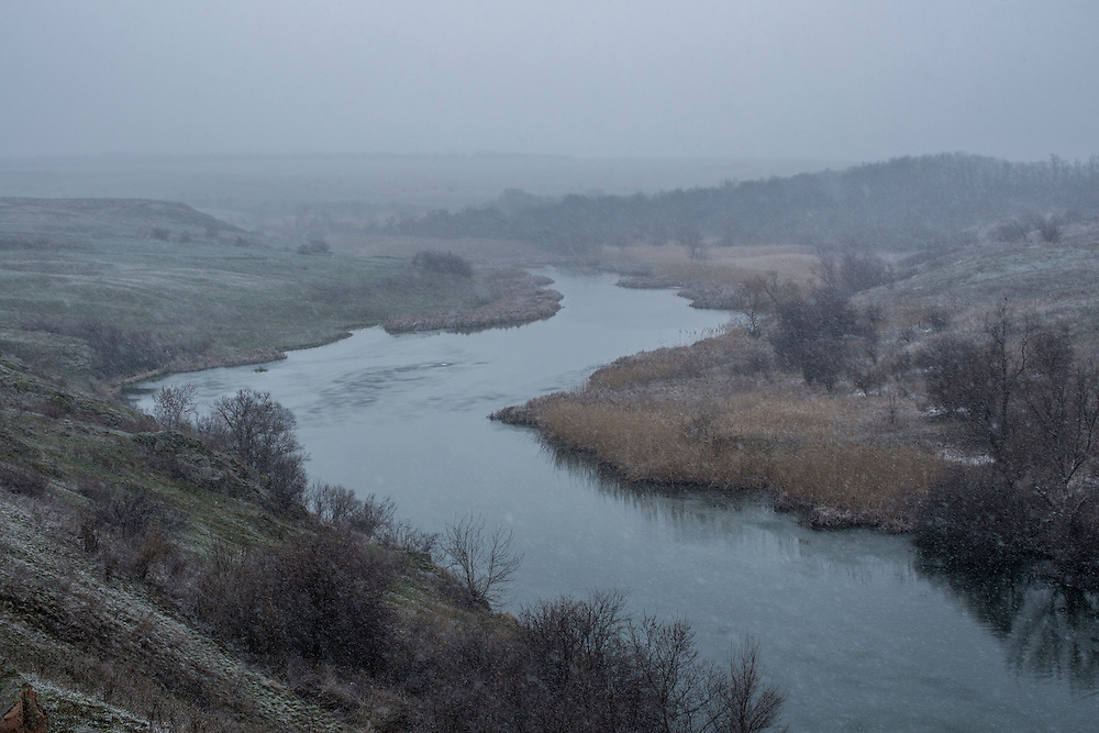 The Kalchik River on Sunday, March 20, 2016 in Novooleksiivka, Ukraine.