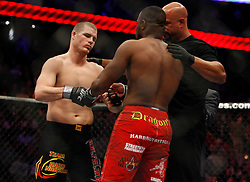 November 17, 2007; Newark, NJ, USA;  Michael Bisping (black trunks) and Rashad Evans (red trunks) touch gloves before their bout at UFC 78: Validation at the Prudential Center in Newark, NJ.  Evans won via split decision.