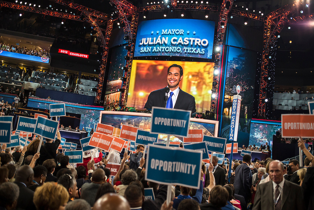 San Antonio Mayor Julian Castro is seen on a large screen as he speaks to delegates at the Democratic National Convention on Tuesday, September 4, 2012 in Charlotte, NC.