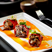 "SHOT 4/14/12 2:37:14 PM - In the spirit of the great modern American roadhouse, District Meats serves seriously fresh food at solidly market fare prices in a casual ""come one, come all"" atmosphere. Justin's Stuffed Piquillo Peppers (3) $9 at District Meats. (Photo by Marc Piscotty / © 2012)"
