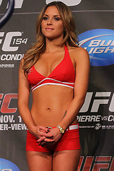 Montreal, Quebec, CAN - November 16, 2012: UFC Octagon Girl Brittany Palmer at the UFC 154 Weigh-Ins at New City Gas in Montreal, Quebec, Canada. (Ed Mulholland for ESPN.com)