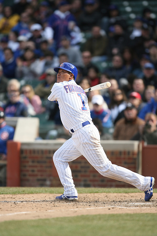 CHICAGO - APRIL 4:  Kasuke Fukudome #1 of the Chicago Cubs bats during the game against the Houston Astros at Wrigley Field in Chicago, Illinois on April 4, 2008.  The Astros defeated the Cubs 4-3. (Photo by Ron Vesely)