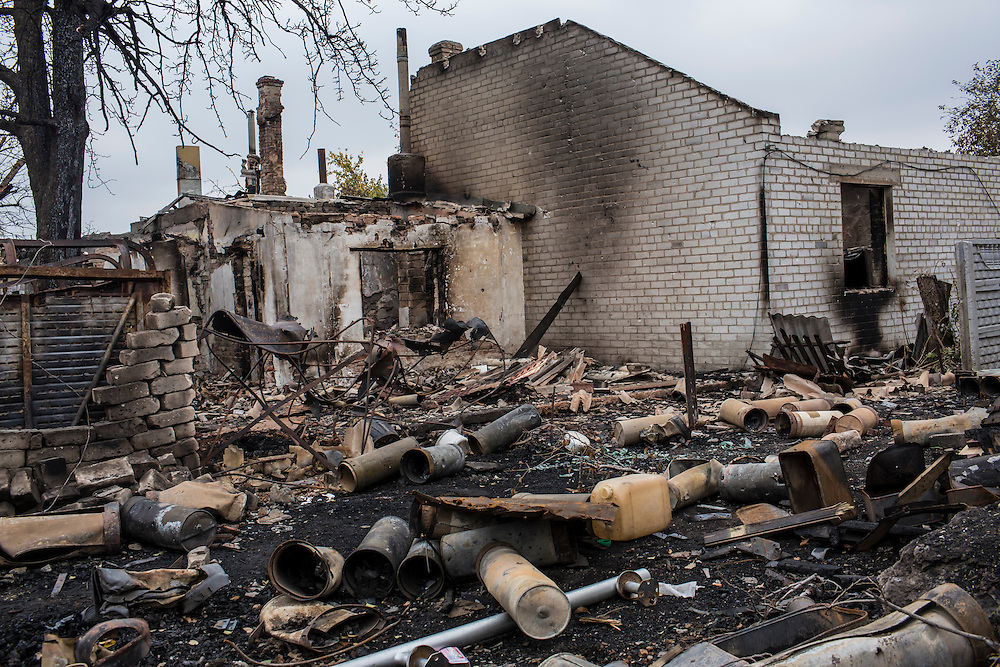 A destroyed house near the heavily contested Donetsk airport on Friday, October 17, 2014 in Donetsk, Ukraine. Photo by Brendan Hoffman, Freelance