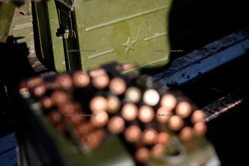 Old sovjet cartidge magazines with star on an army transport to eastern Ukraines frontline near Donetsk.<br />