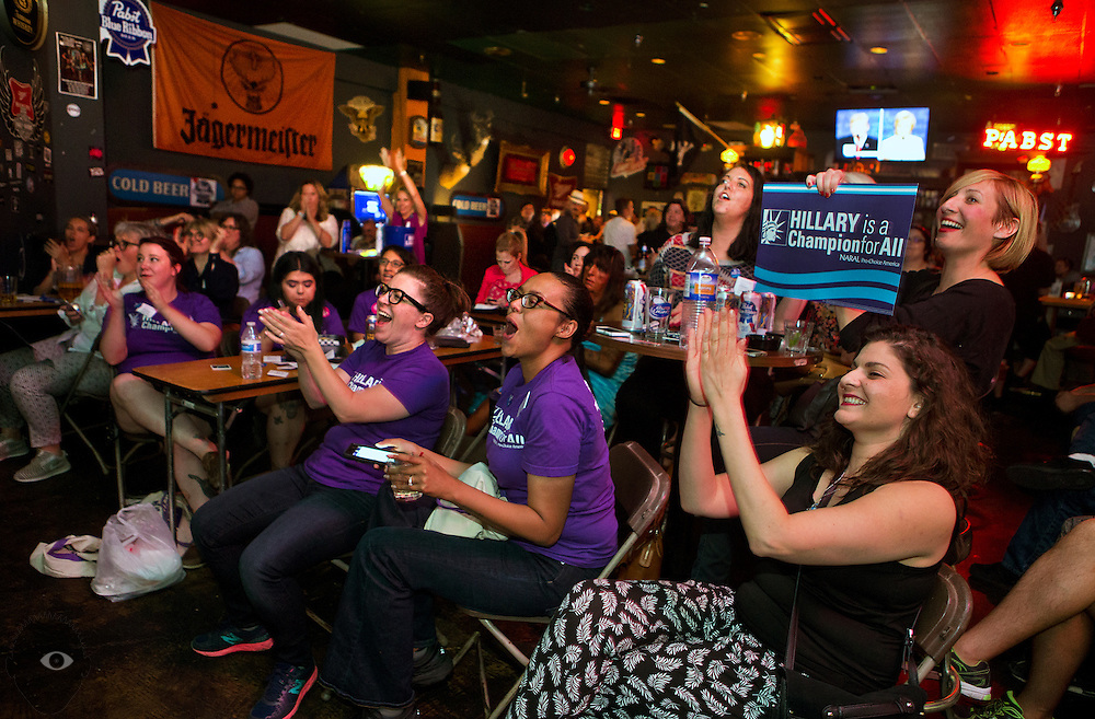 Candidate supports gather at the Dive Bar to watch and cheer them on during the final 2016 Presidential Debate happing nearby on campus at UNLV on Wednesday, Oct. 19, 2016.