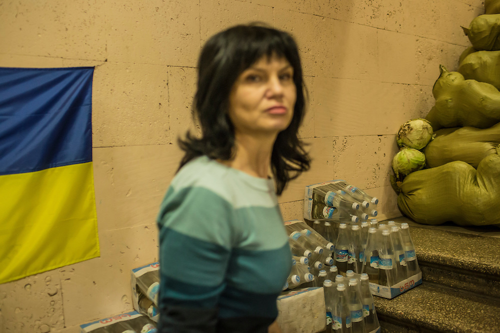 DNIPROPETROVSK, UKRAINE - NOVEMBER 16, 2014:  Natalia Nechukhayeva, 55, a teacher, volunteers at the Dnipropetrovsk Volunteer Logistics Center, a charity organization that produces supplies for pro-Ukrainian fighters battling rebels in the country's East, in Dnipropetrovsk, Ukraine. CREDIT: Brendan Hoffman for The New York Times