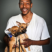 Robert Franklin with his eight month old chihuahuas Kinko and Dollar.