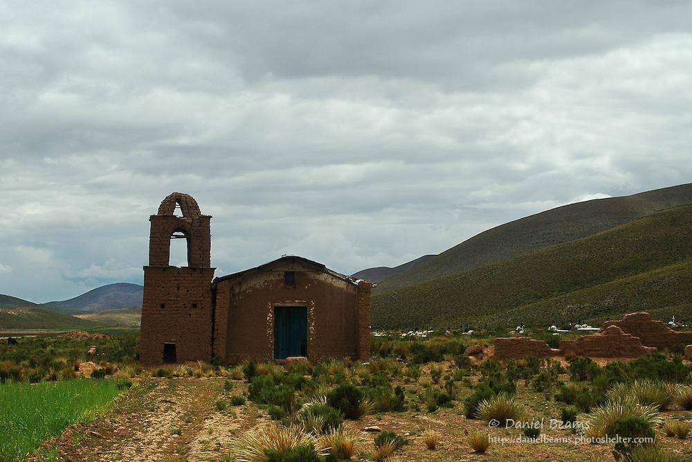 Old adobe Catholic church near La Paz, Bolivia