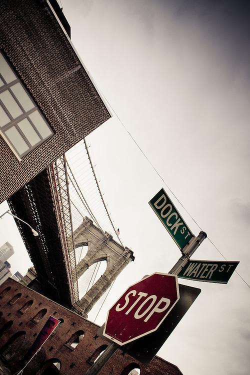 Dock and Water Street cross near the Brooklyn Bridge, Brooklyn, NY.