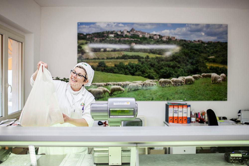 "17 February 2017, Manciano, Italy - The cheese shop of the ""Caseificio Sociale Manciano"" social cheese factory."