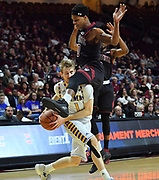 LAS VEGAS, NV - MARCH 11:  Brent Wrapp #1 of the Cal State Bakersfield Roadrunners is fouled by Jemerrio Jones #10 of the New Mexico State Aggies during the championship game of the Western Athletic Conference Basketball tournament at the Orleans Arena on March 11, 2017 in Las Vegas, Nevada.  (Photo by Sam Wasson/Getty Images) *** Local Caption *** Brent Wrapp; Jemerrio Jones