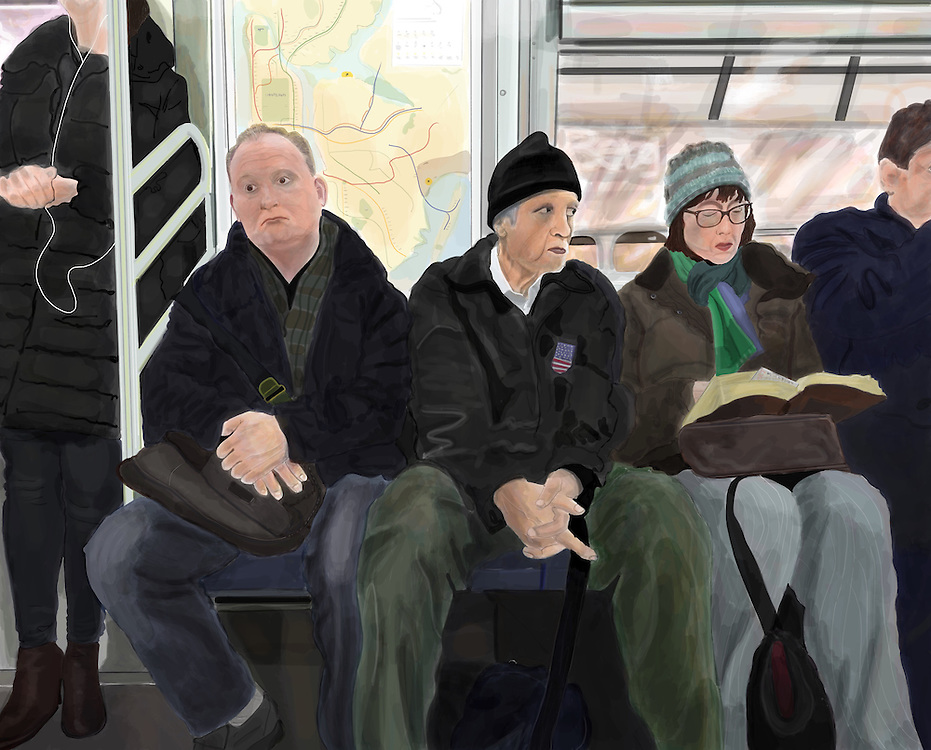 a drawing of Commuters on the F Train in Brooklyn.