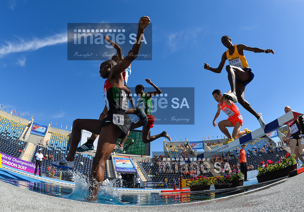 BYDGOSZCZ, POLAND - JULY 21: Amos Kirui of Kenya and Yemane Haileselassie of Eritrea lead the pack at the water jump in the mens 3000m steeplechase during day 3 of the IAAF World Junior Championships at Zawisza Stadium on July 21, 2016 in Bydgoszcz, Poland. (Photo by Roger Sedres/Gallo Images)