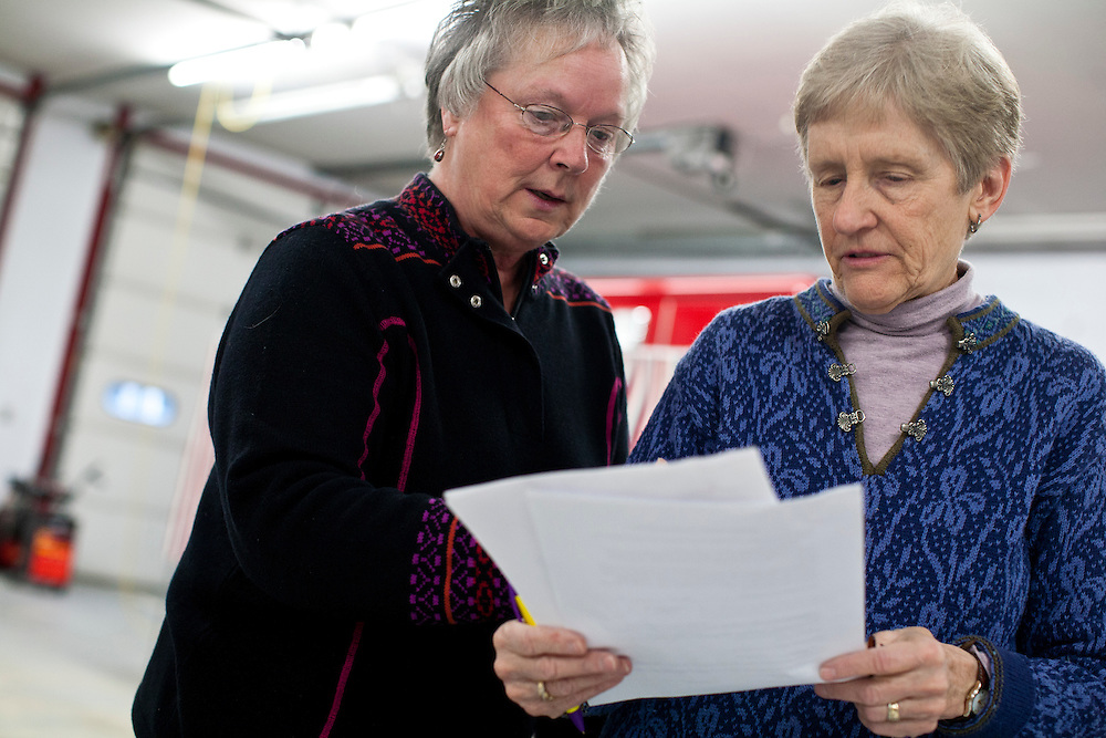 Bonne Haubrich, left, and Dorothy Campbell review voting procedures for the New Hampshire Primary at the Grafton Fire Station on Tuesday, January 10, 2012 in Grafton, NH. Brendan Hoffman for the New York Times