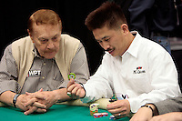 28 February 2009: NBA Lakers owner Jerry Buss is eliminated during the first round of the 7th Annual WPT World Poker Tour Invitational at the Commerce Casino in Los Angeles, CA. Players compete for poker glory and a  piece of the $200,000 prize pool. Celebrity and Pro card players in action.