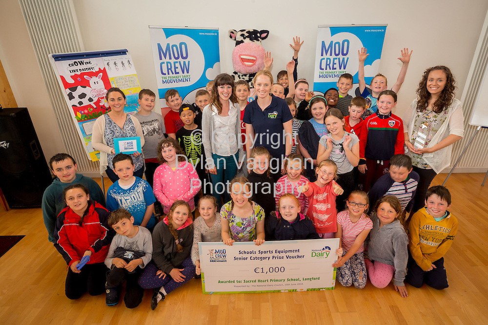 Repro Free no charge for Repro<br /> <br /> 15-6-16<br /> <br /> DERVAL O&rsquo;ROURKE CELEBRATES WITH WINNING MOO CREW SCHOOLS FROM DONEGAL &amp; LONGFORD<br />  <br /> Derval O&rsquo;Rourke, the well-known sprint hurdler who is a World Indoor Champion, multiple European medallist and three time Olympian, was in Dublin today (15th June, 2016) to celebrate with the top winning primary school children in the National Dairy Council&rsquo;s Moo Crew &ndash; Primary Dairy Moovement.<br /> Moo Crew is a fun and interactive way for children to learn about the benefits of a healthy, balanced diet and the importance of exercise &ndash; to &lsquo;get moo-ving&rsquo;.  It is supported by the NDC in light of research that showed 37% of girls and 28% of boys aged from 5 &ndash; 12 years in Ireland had inadequate calcium intakes in their diet.<br />  <br /> The top classes in the Junior Category and Senior Category of the NDC&rsquo;s national competition each won a sports equipment pack worth &euro;1,000 for their school and the day out in Airfield Farm in Dublin, with Olympic star Derval O&rsquo;Rourke.  The overall national winners of Moo Crew for 2016 are:<br /> &middot;         National Winners, Junior Category - Junior Class, Little Angels Special School, Letterkenny, Co. Donegal (Junior class Teacher Mr. Daire Diver)<br /> &middot;         National Winners, Senior Category - 4th &amp; 5th Class, Sacred Heart Primary School, Granard, Co Longford (Teachers Ms. Carmel Shaughnessy and Ms. Grace McGauran)<br /> <br /> Milly, the Moo Crew Mascot cow, joined in the action packed day which included milking cows, farmyard experiences and butter making; as well as activities such as bug hunting and woodland walks.  Further details and information about county winners at www.ndc.ie.<br />  <br /> Pictured at Airfield Farm were National Winners, Senior Category - 4th &amp; 5th Class, Sacred Heart Primary School, Granard, Co Longford with Caroline O&rsquo;Donovan, Nutritionist, Nationa