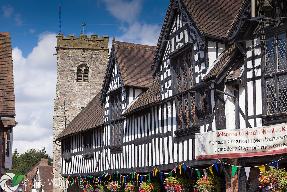 The half-timbered  Guildhall at Much Wenlock, Shropshire, was built in 1540. The Wenlock Olympian Games, set up in 1850, provided the inspiration for the modern Olympic Games.