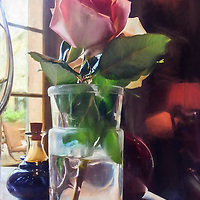 A single rose in a small glass vase on a dinner table.  A painting effect has been applied to the original photograph.